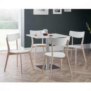 Pisa Wooden Dining Table In White & 4 Casa Chairs