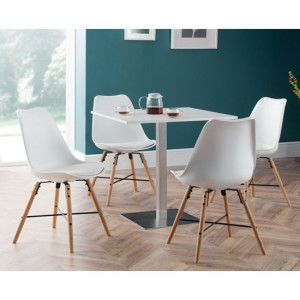 Pisa Wooden Dining Table In White & 4 Kari White Chairs