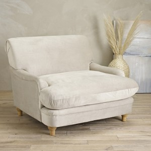 Plumpton Velvet Upholstered Bedroom Chair In Beige