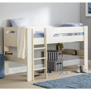 Pluto Wooden Midsleeper Childrens Bed In Stone White