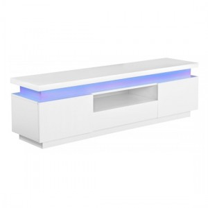 Polaris LED Wooden TV Stand In White High Gloss