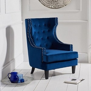 Portia Blue Velvet Bedroom Chair With Black Wooden Legs