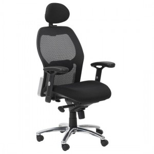 Portland Synchro Mesh Back Fabric Seat Executive Office Chair In Black