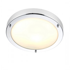 Portloe Frosted Glass Flush Ceiling Light In Polished Chrome