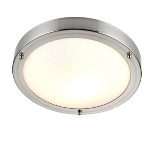 Portloe Frosted Glass Flush Ceiling Light In Satin Nickel