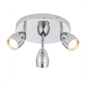 Porto Clear Glass 3 Lights Round Ceiling Light In Chrome