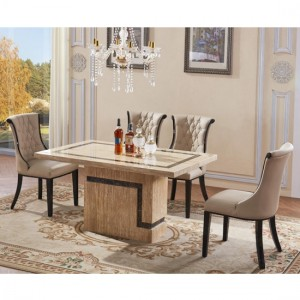 Potenza Lacquer Marble Dining Set With 6 Chairs