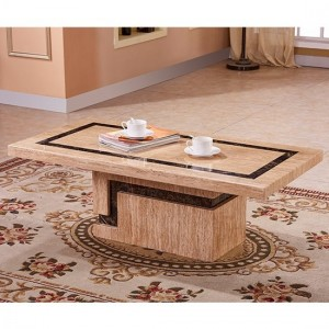 Potenza Marble Coffee Table In Natural Stone With Marble Base