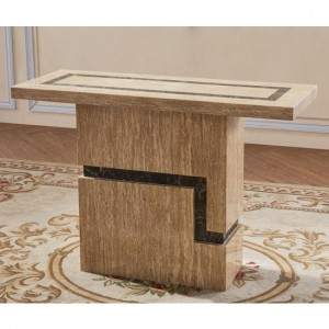 Potenza Marble Console Table In Natural Stone With Marble Base