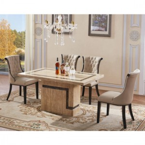 Potenza Marble Dining Table In Natural Stone With 6 Chairs