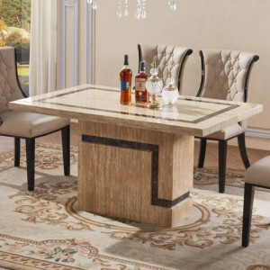 Potenza Marble Dining Table In Natural Stone With Marble Base