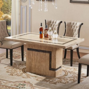 Potenza Natiral Stone Marble Dining Table In Lacquer With Marble Base