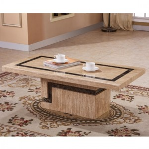 Potenza Natural Stone With Marble Coffee Table In Stone And Lacquer