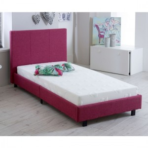 Prado Fashion Fabric Upholstered Single Bed In Pink