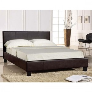 Prado Faux Leather Upholstered Lift-Up Double Bed In Brown