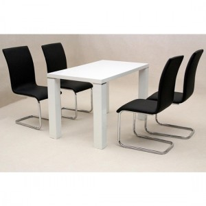Prague Wooden Dining Set In White High Gloss With 4 Chairs