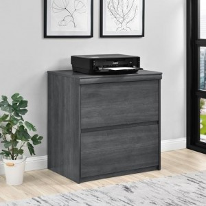 Presley Lateral Wooden Office Storage Cabinet In Grey Weathered Oak