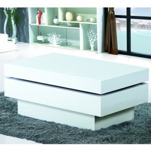 Preston Movable Wooden Coffee Table In White High Gloss