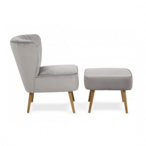 Prestwick Sliver Plain Occaisional Chair With Footstool