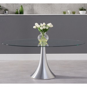 Pria Oval Glass Dining Table With Chrome Stainless Steel Base