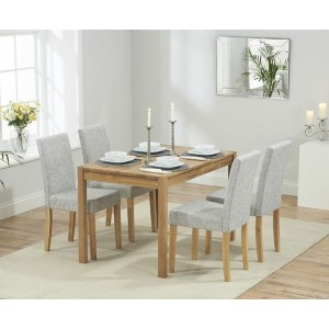 Promo Rectangular Solid Oak 120cm Dining Set With 4 Maiya Chairs