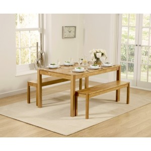 Enmore Solid Oak 150cm Dining Table with 2 Benches Set