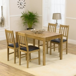 Promo 120cm Dining Set With 4 Chairs In Oak