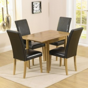 Promo Extending Wooden Rectangular Dining Table With 4 Chairs