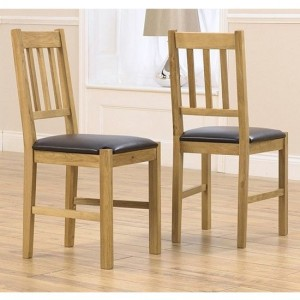 Promo Wooden Dining Chairs In Oak With Black Leather Seat In Pair