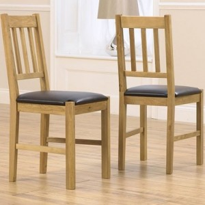 Promo Wooden Dining Chairs In Oak With Brown Leather Seat In Pair