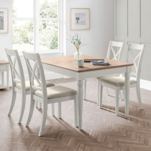 Provence Extending Dining Table In Grey With 4 Chairs
