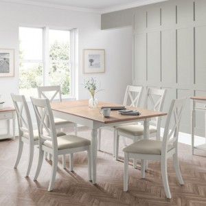 Provence Extending Dining Table In Grey With 6 Chairs