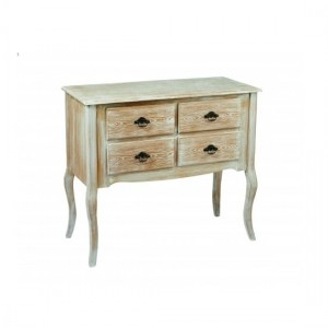 Provence Wooden Chest Of Drawers In Weathered Oak With 4 Drawers