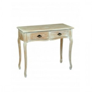 Provence Wooden Console Table In Weathered Oak With 2 Drawers