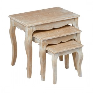 Provence Wooden Nest Of Tables In Weathered Oak