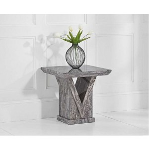 Mocha Marble Lamp Table In Grey With V Shape Base