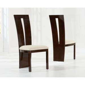 Arizona Dining Chair In Brown Gloss And Cream Fabric In A Pair