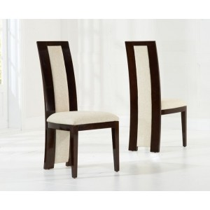 Rivilino Dining Chair In Brown Gloss And Cream Fabric In A Pair