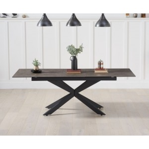 Britolli 180cm Extending Mink Ceramic Dining Table With Dark Metal Legs