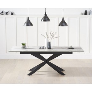 Britolli 180cm Extending White Ceramic Dining Table With Dark Metal Legs
