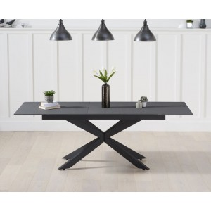 Britolli 180cm Extending Grey Stone Finish Dining Table With Dark Metal Legs