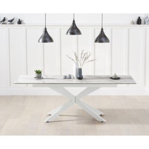Britolli 180cm Extending White Ceramic Dining Table With White Legs