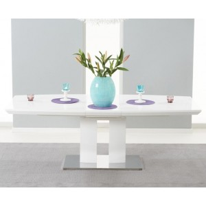 Silas Extendable Dining Table In White Gloss With Chrome Base