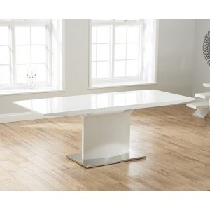 Naomi Extendable Pedestal Dining Table In White High Gloss