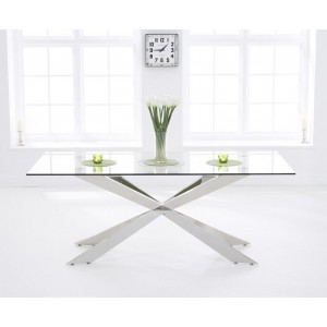 Ramsel Large Glass Dining Table With Stainless Steel Base