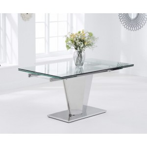 Eveland Glass Dining Table In Clear With Stainless Steel Base