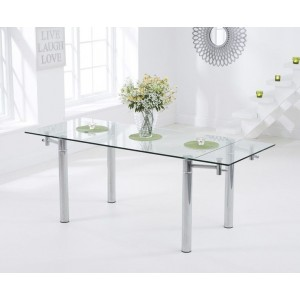 Jessi Clear Glass Extendable Dining Table With Chrome Legs