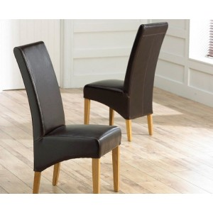 Roma Brown Bonded Leather Dining Chairs With Oak Legs In A Pair