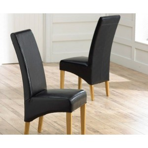 Roma Black Bonded Leather Dining Chairs With Oak Legs In A Pair