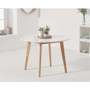 Mable Round Dining Table In White And Oak Finish